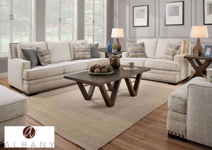 Symbio Sofa Set by Albany Industries in a Creamy Beige/Off White Upholstery. Includes Sofa, Loveseat and Chair | Home Furniture + Mattress