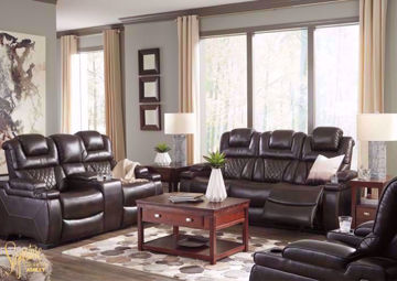 Warnerton Power Activated Reclining Sofa Set covered in a Dark Brown Upholstery that Looks and Feels Like Leather. Includes Sofa, Loveseat and Recliner | Home Furniture Plus Bedding