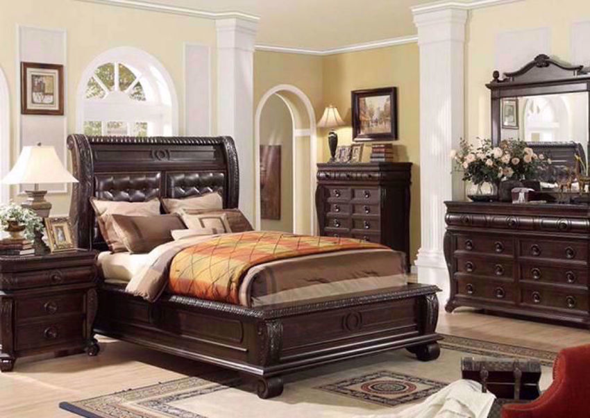 Rich Sable Brown Hillsboro Bedroom Set in a Room Setting. Includes Queen Bed, Dresser with Mirror and 1 Nightstand  | Home Furniture Plus Mattress