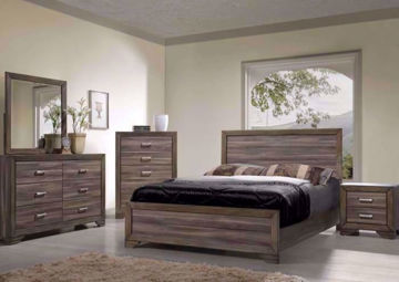 Brownish Gray Asheville Bedroom Set in a Room Setting. Includes Queen Bed, Dresser with Mirror and 1 Nightstand | Home Furniture Plus Mattress