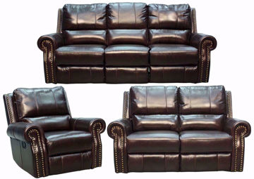 Espresso Brown Top Grain Leather Gunnison Reclining Sofa Set Includes Sofa, Loveseat and Recliner | Home Furniture + Mattress