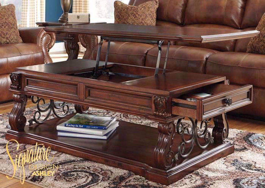 Alymere Lift Top Coffee Table With Table Top Lifted in a Room Setting by Ashley Furniture | Home Furniture Plus Bedding