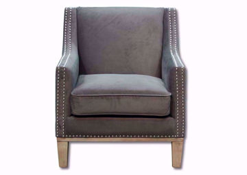 Gray Suede Augusta Accent Chair Facing Front | Home Furniture Plus Mattress