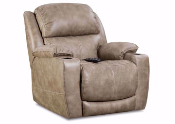 Badlands POWER Theatre Recliner, Light Brown, Angle | Home Furniture Plus Mattress