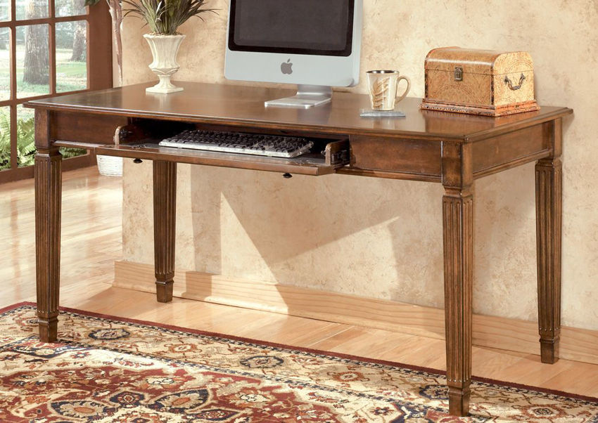 Room Shot of the Hamlyn Desk by Ashley Furniture Front Facing With 2 Drawers and Open Base | Home Furniture Bedding