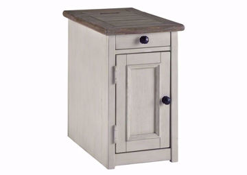 Bolangurg Chairside End Table by Ashley Furniture with Brown Table Top and White Finish, 1 Drawer and Enclosed Cabinet | Home Furniture Plus Bedding