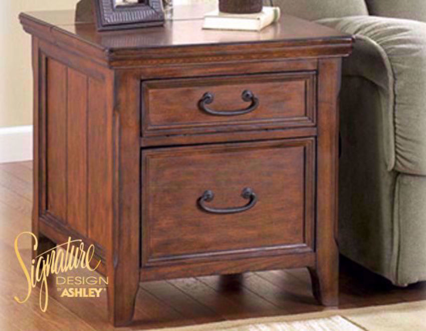 2 Drawer Brown Woodboro Chairside End Table by Ashley Furniture in a Room Setting | Home Furniture Plus Mattress