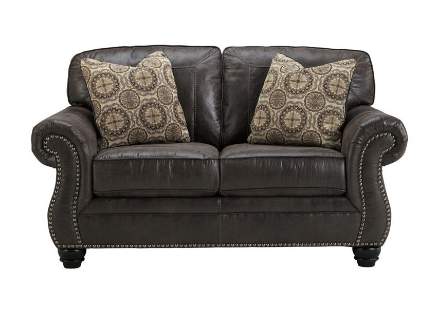Breville Loveseat by Ashley Furniture Covered in a Gray Leather Like Upholstery with 2 Accent Pillows | Home Furniture Plus Bedding