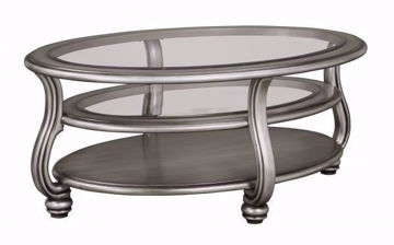 Metallic Silver Coralayne Coffee Table by Ashley Furniture with Glass Table Top and Center Shelf with Solid Bottom Shelf | Home Furniture Plus Bedding