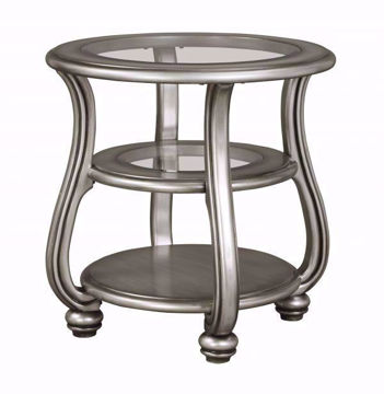 Metallic Silver Coralayne End Table by Ashley Furniture with Glass Table Top and Center Shelf with Solid Bottom Shelf | Home Furniture Plus Mattress