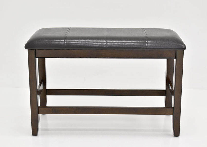 Dark Brown Fulton Bar Height Dining Bench at an Angle in a Room Setting | Home Furniture Plus Mattress