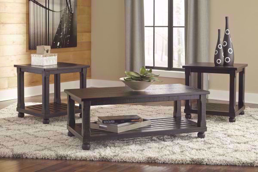 Black Mallacar 3 Piece Coffee Table and 2 End Tables by Ashley Furniture in Room Setting | Home Furniture Plus Mattress