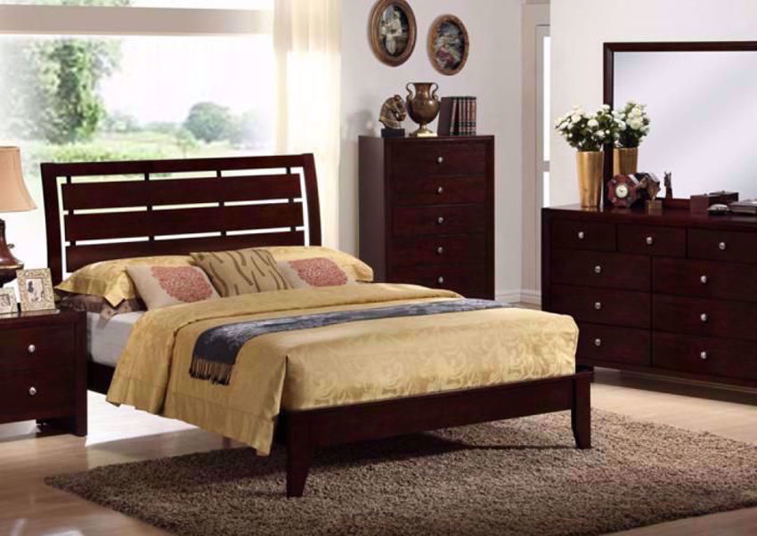 Espresso Brown Marshall Bedroom Set in a Room Setting. Includes Queen Bed, Dresser with Mirror and 1 Nightstand | Home Furniture Plus Bedding
