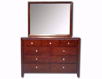 Warm Brown Marshall Dresser with Mirror Facing Front | Home Furniture Plus Mattress