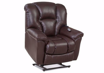 Dark Brown Ormand POWER Lift Recliner at an Angle in a Lifted Up Position | Home Furniture Plus Mattress