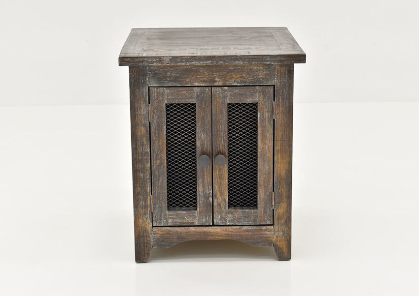 Front Facing View of the Rustic Brown Pueblo End Table by Vintage Furniture LLC | Home Furniture Plus Bedding
