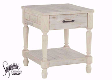 White Shawnalore End Table with 1 Drawer and Open Bottom Shelf by Ashley Furniture | Home Furniture Plus Bedding