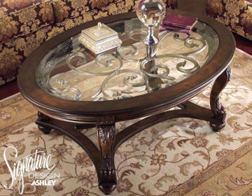 View of Glass Table Top and Table Base of the Norcastle Coffee Table by Ashley Furniture | Home Furniture Plus Mattress