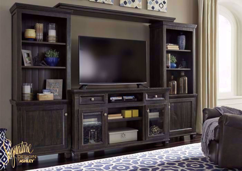 Dark Brown Townser Entertainment Center by Ashley in Room Setting | Home Furniture Plus Bedding
