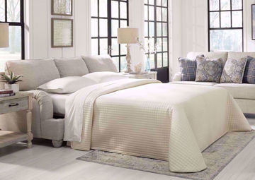 Open Sofa Bed on the Off White Traemore Sleeper Sofa by Ashley Furniture, Room View | Home Furniture Plus Bedding