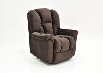 Dark Brown Travis Power Lift Recliner at an Angle in the Up Position | Home Furniture Plus Mattress