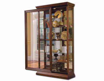 Brown Glass Isabelle Curio Cabinet at an Angle with the Door Open | Home Furniture Plus Mattress