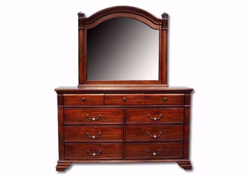 Isabella Dresser with Mirror, Brown, Front Facing | Home Furniture Plus Mattress