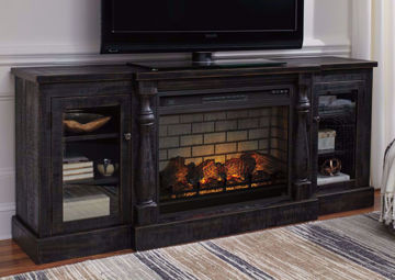 Mallacar TV Stand with Fireplace - Black Finish, Front View