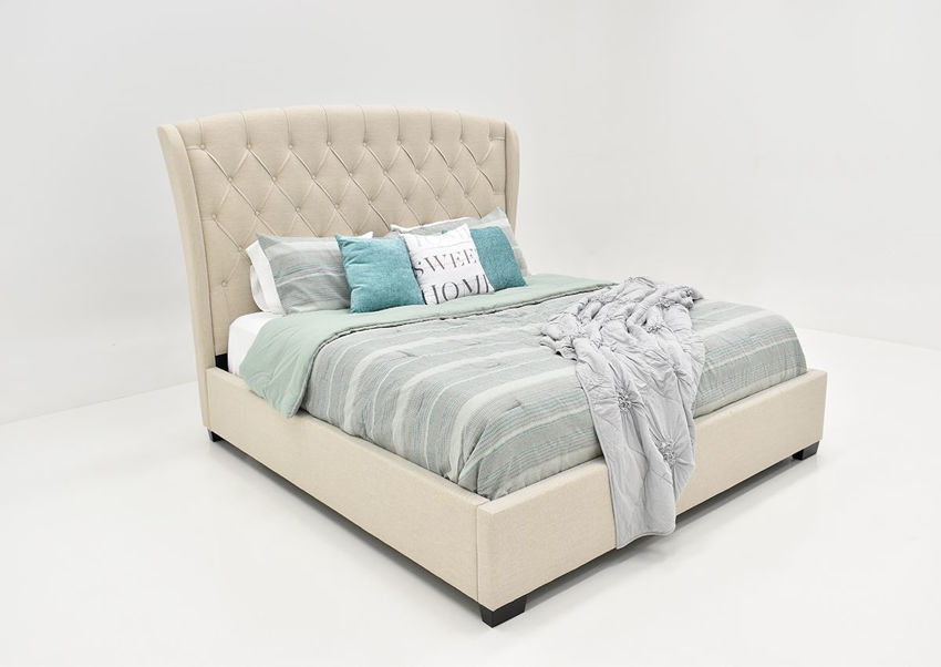 Picture of Kaitlyn  Upholstered King Size Bed - Taupe