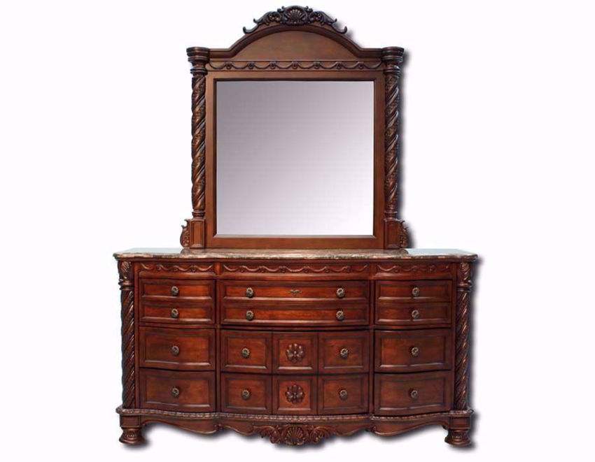 Warm Brown North Shore Dresser with Mirror by Ashley Furniture Facing Front | Home Furniture Plus Mattress
