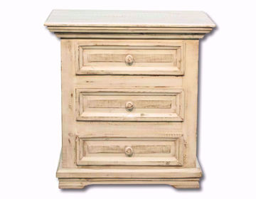 Vintage White Jasper Three Drawer Nightstand Facing Front | Home Furniture Plus Mattress