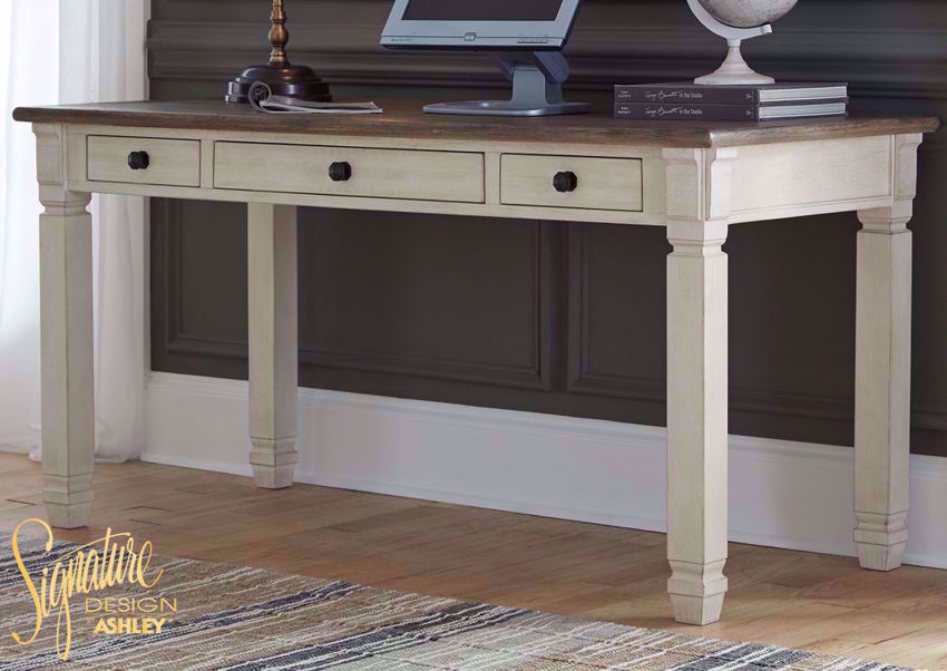 Bolanburg Desk by Ashley Furniture with Off White Base and Brown Desk Top | Home Furniture Plus Bedding