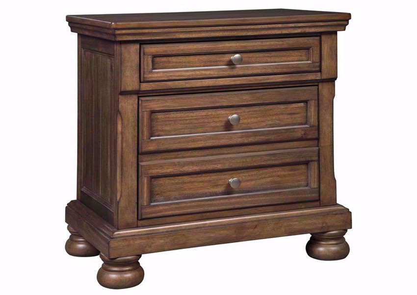Tobacco Brown Flynnter Nightstand by Ashley Furniture  at an Angle   Home Furniture Plus Bedding