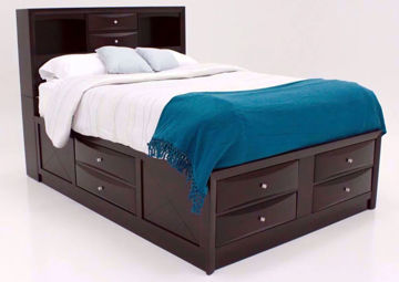 Brown Emily King Storage Bed at an Angle | Home Furniture Plus Mattress