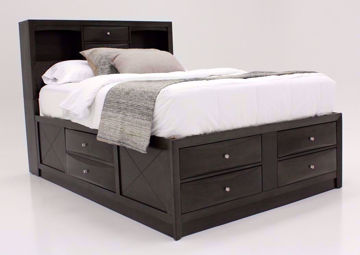 Dark Gray Emily Queen Storage Bed at an Angle | Home Furniture Plus Mattress