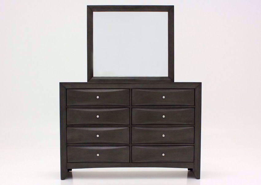 Dark Gray Emily Dresser and Mirror Facing Front | Home Furniture Plus Mattress