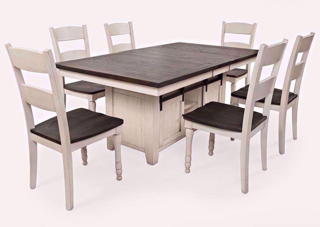 Madison County 7 Piece Dining Table Set White Home Furniture Plus Bedding