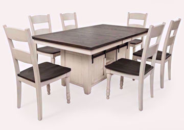 Madison County 7 Piece Dining Table Set, White, Brown, Group Photo | Home Furniture Plus Bedding