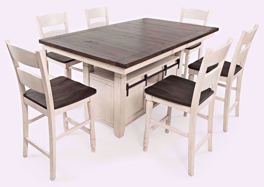 Madison County 7 Piece Bar Height Dining Table Set - White