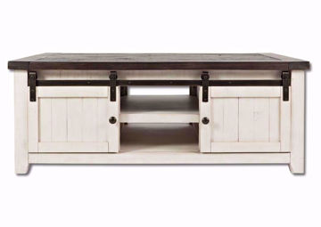 White Two-Tone Madison County Coffee Table Facing Front | Home Furniture Plus Mattress
