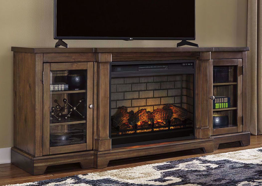 Brown Flynnter TV Stand & Fireplace by Ashley Furniture in a Room Setting | Home Furniture Plus Mattress
