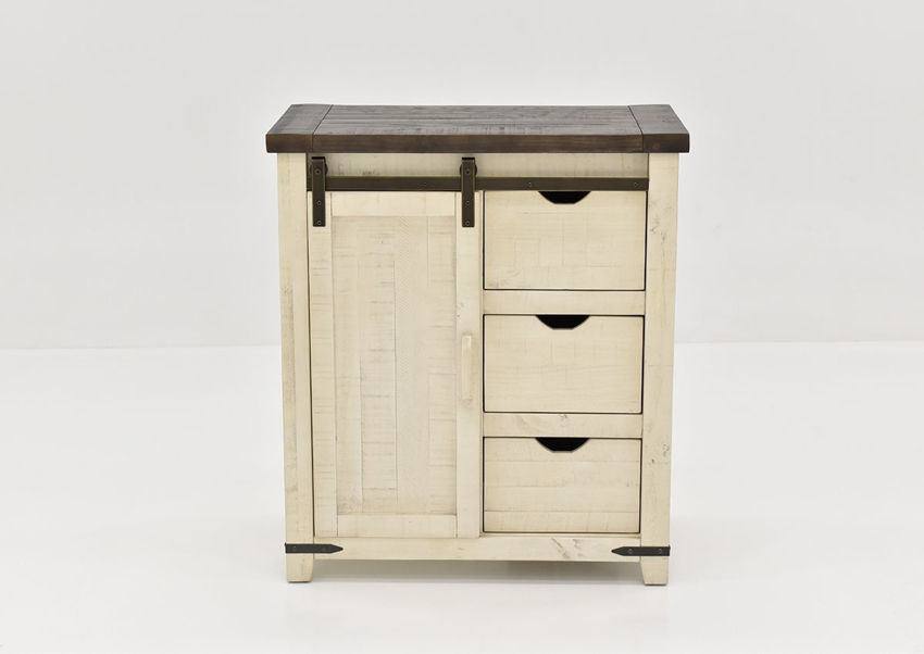 Distressed White and Warm Brown Madison Accent Cabinet Facing Front | Home Furniture Plus Mattress