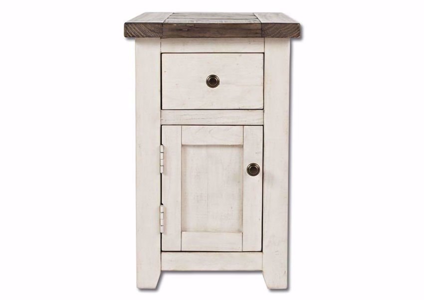 White Two-Tone Madison County Chairside End Table Facing Front | Home Furniture Plus Mattress