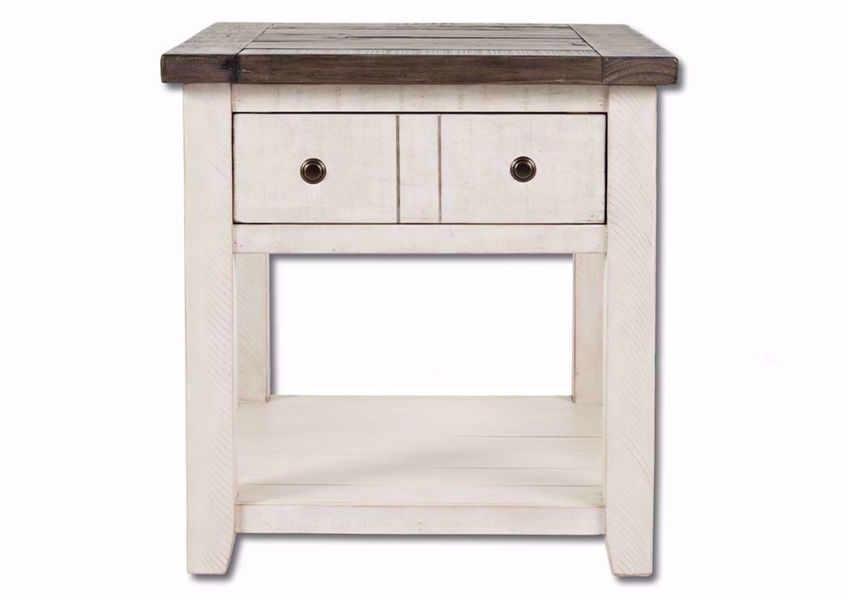 White Two-Tone Madison County End Table Facing Front | Home Furniture Plus Mattress