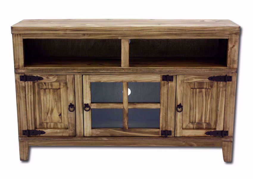 Distressed Brown Santino TV Stand Facing Front | Home Furniture Plus Mattress