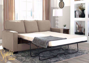 Beige Zeb Sleeper Sofa with Open Full Size Sofa Bed by Ashley Furniture | Home Furniture + Mattress