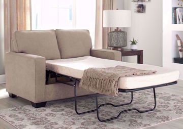 Beige Zeb Sleeper Sofa with Open Twin Size Sofa Bed by Ashley Furniture | Home Furniture + Mattress