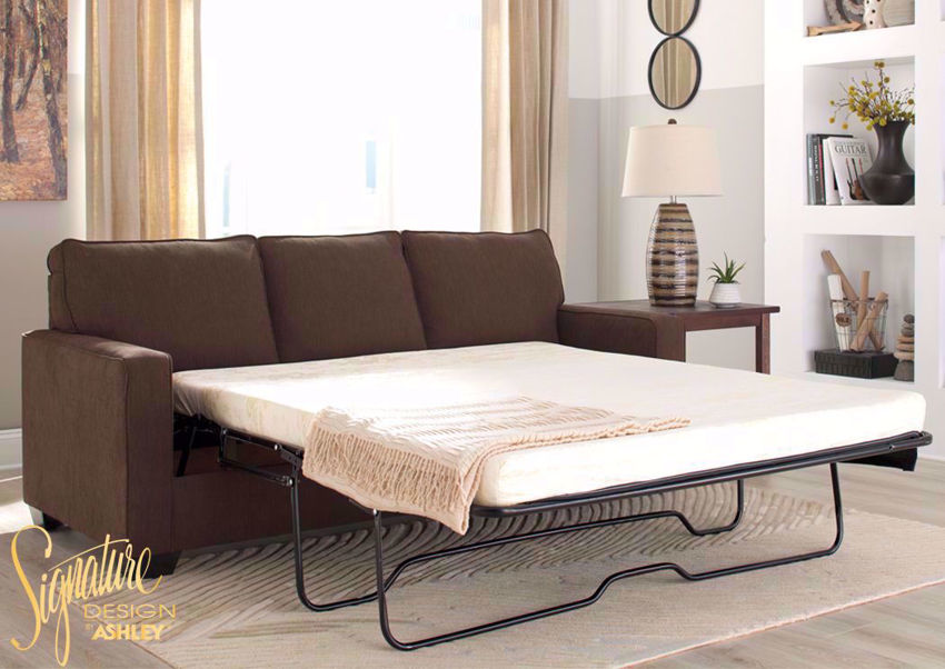 Brown Zeb Sleeper Sofa with Sofa Bed by Ashley Furniture Available in Queen Size  | Home Furniture + Mattress