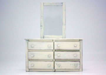Duncan Dresser with Mirror, White, Front Facing | Home Furniture Plus Bedding