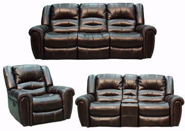 Torino Reclining Living Room by Manwah with Brown Microfiber Upholstery. Includes Reclining Sofa, Reclining Loveseat and Recliner | Home Furniture + Mattress